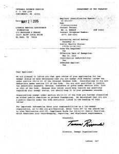 IRS Letter of Non-Profit Status